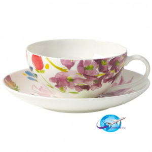 villeroy-boch-Anmut-Flowers-Teetasse-mit-Untertasse-2tlg